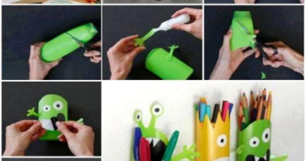 fabriquer un range crayons avec une bouteille de shampooing cr ations pinterest blog et. Black Bedroom Furniture Sets. Home Design Ideas