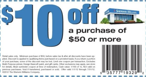 10 Off At Sherwin Williams Coupon Free Printable Coupons
