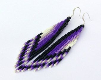 Beadwork. Extra Long Earrings Native American Earrings Inspired Shoulder Duster Earrings