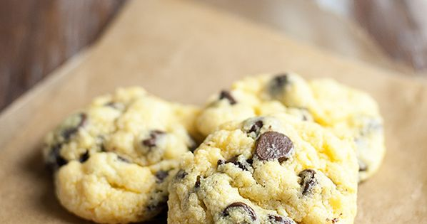 Chocolate Chip Gooey Butter Cookies - 1 box butter cake mix, 1