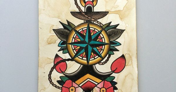 Traditional anchor compass tattoo flash by @nitrobolts ...