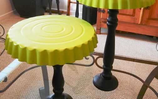 Dynamic Cake Stands ~ Make dessert stands using dollar store tart pans