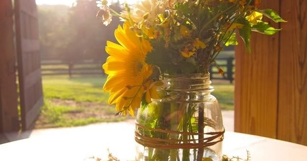 mason jar sunflowers