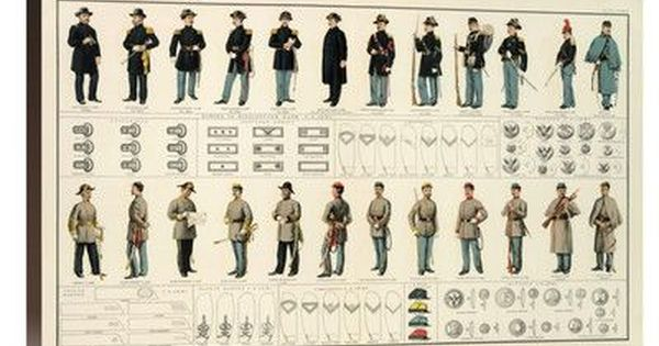 Global Gallery Civil War Uniforms Us And Confederate Armies 1895 By United States War Department Graphic Art On Wrapped Canvas Wayfair American Civil War Poster American Civil War Civil War Photos