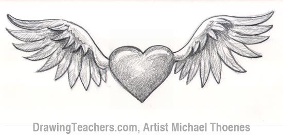 How To Draw A Heart With Wings Wings Drawing Heart Drawing Heart With Wings Tattoo