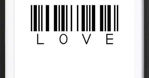 black and white typography  barcode love art print by