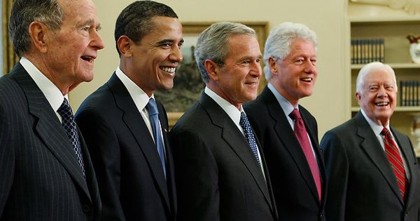 All 5 living Presidents of the United States of America, taken Jan
