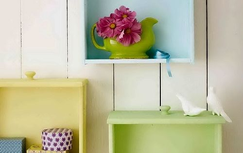 Colorful Diy Wall Storage Of Old Drawers - laundry room, kids room