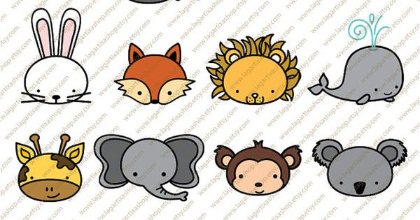 Cute Animals Clipart Pig Mouse Tiger Dog Rabbit Fox Lion