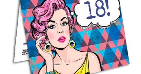 Zaproszenia 18 Urodziny Styl Pop Art Pin Up Girl