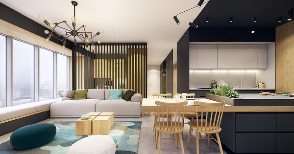 cuisine bois clair noir mat  Architecture dintérieur  Pinterest ...