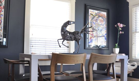 Dark Gray Walls Add Dining Room Drama - love this paint color