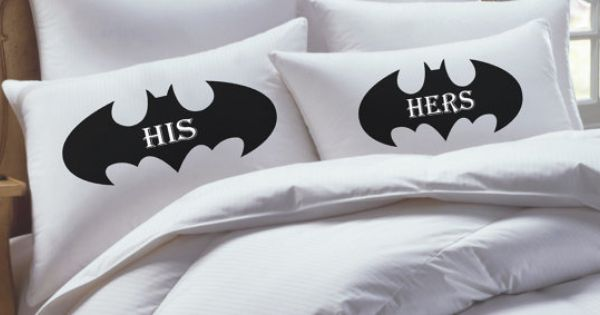 Batman Wedding Gift: Batman Inspired, His Hers Pillowcase Set, Personalized