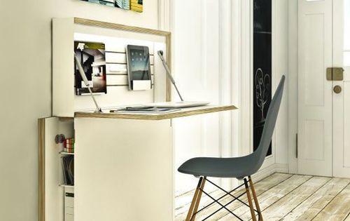 so schmal kann ein arbeitsplatz im flur sein ordner im schrank laptop oder pc tablet hinter. Black Bedroom Furniture Sets. Home Design Ideas