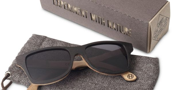 Wooden sunglasses made from recycled broken skateboard decks