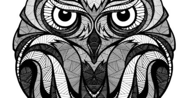 Owl illustration, black and white by Andreas Preis