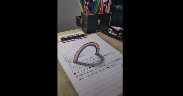 شاهد هذا الفنان يقوم برسم قوس قزح على شكل 3d فنان في الرسم Youtube