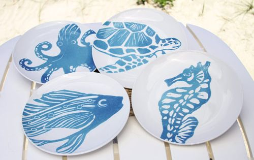 Sea Life Dinner Plates Set Of 4 Stoneware Dinner Plates