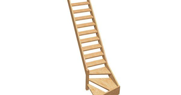 Echelle de meunier normandie 1 4 tournant gauche bois for Escalier japonais lapeyre