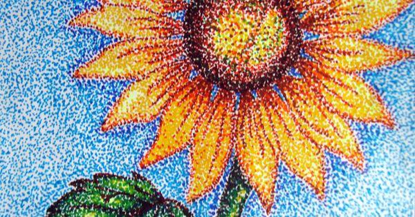 Easy pointillism flower