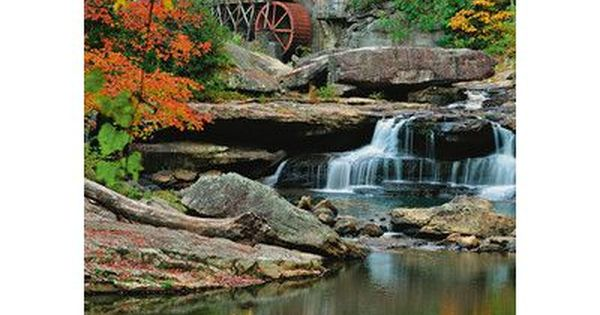 Union Rustic Motter Mill 8 4 L X 72 W Wall Mural Glade Creek Grist Mill Autumn Scenery Water Wheel