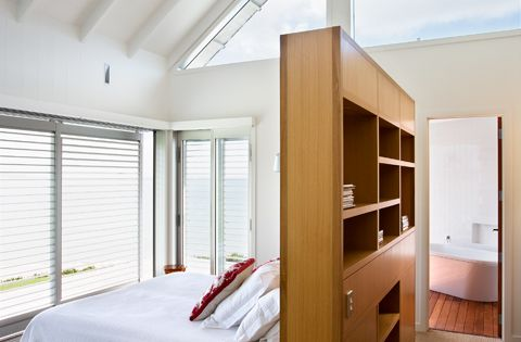 Love double-duty built-ins, like in this bedroom: a wall and storage.  Organize ...