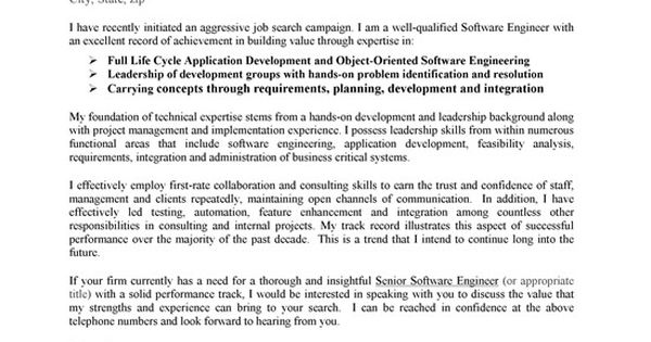 A Good Cover Letter Template For Software Engineers To Use In A Job Application.