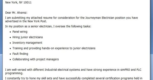 journeyman electrician cover letter examples