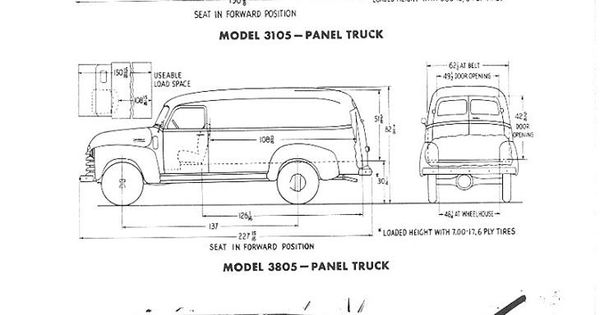 chevrolet advanced design panel truck measurements