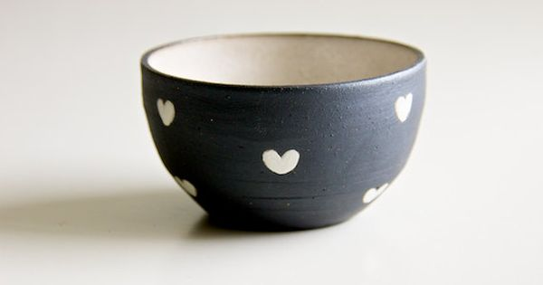 ceramic black and white hearts bowl (etsy shop: RossLab)