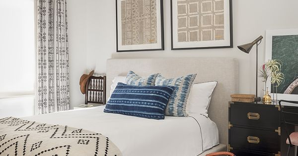 African Inspired Bedroom Indigo Pillows And Cloth