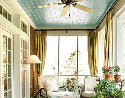 sun porch / painted ceiling / fan