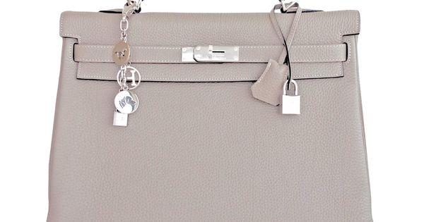 Hermes Gris Tourterelle Togo Kelly Dove Grey 35cm Palladium ...