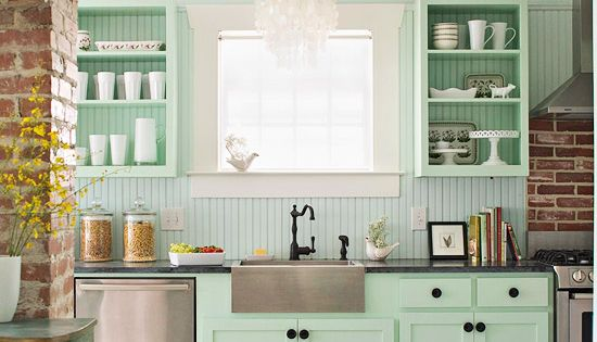 mint green cabinets, apron sink, open shelves! my dream kitchen.