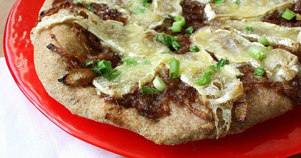 Brie Cheese & Balsamic Caramelized Onion Whole Wheat Flatbread Recipe ...