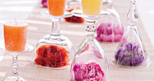 Easy Table Decor with Wine Glasses, Flowers & Candles
