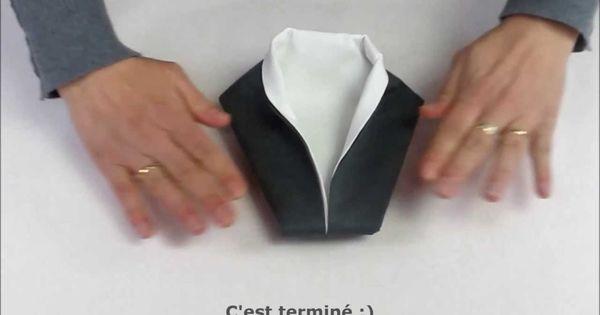 pliage de serviette en forme de smoking mariage pinterest pliage de serviettes pliage et. Black Bedroom Furniture Sets. Home Design Ideas