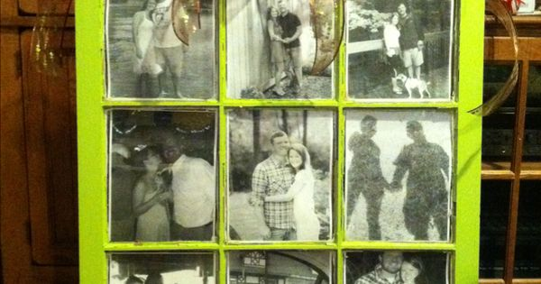 Window pane painted and black and white photos added like a picture
