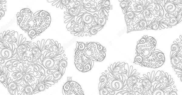 Vector Illustration Of Seamless Floral Pattern Good For Adult Relaxation Coloring Book Outline Black And White