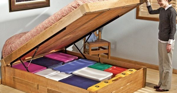 Bed lift mechanisms storage ideas comforter and storage for Comforter storage ideas