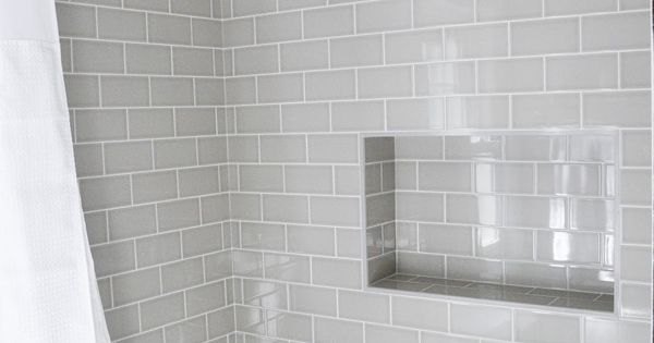 Modern Traditional Bath Gray Subway Tiles Shower Niche