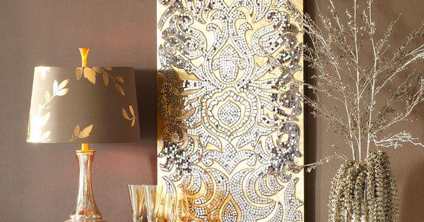 Champagne Mirrored Mosaic Damask Panel | Damasks, Taupe ...