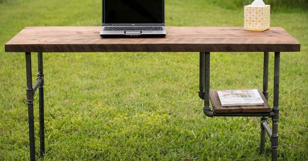 Amazonsmile reclaimed wood desk table rustic solid oak for Iron pipe desk