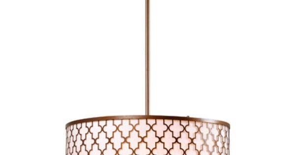 3 Light Pendant In Antique Gold With Quatrefoil Openwork
