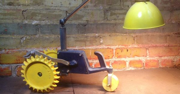 Tractor Bedside Lamp : Repurposed vintage lawn tractor turned bedside reading