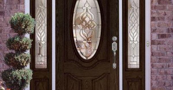 Feather River Doors 63 5 In X81 625 In Lakewood Zinc 3 4 Oval Lite Stained Walnut Oak Right Hand Fiberglass Prehung Front Door W Sidelites 722991 3a3 Entry Doors Fiberglass Entry Doors Door Glass Design