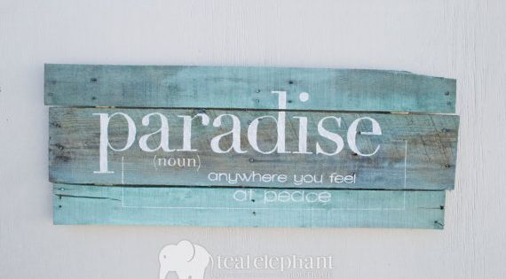 Pallet Art Definition Paradise Home Wall Hanging