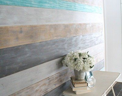 DIY Plank Wall Paint Tutorial. I'd love to do this in the