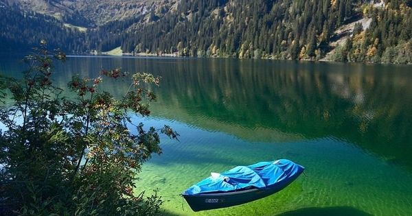 Flathead Lake, Montana. Crystal clear water seems shallow, but is actually 370
