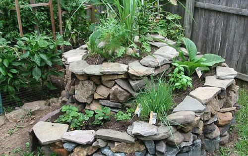 Spiral garden of rocks and plants. Gorgeous